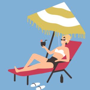 Chica relajada en una tumbona tomando el sol en la playa