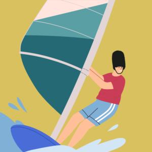 Clasinito haciendo windsurf en verano en la playa