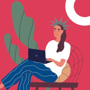 Chica relajada dando clase de inglés online desde su ordenador portátil