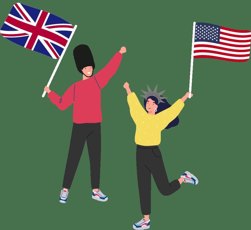 Clasinitos contentos con banderas de Gran Bretaña y Estados Unidos
