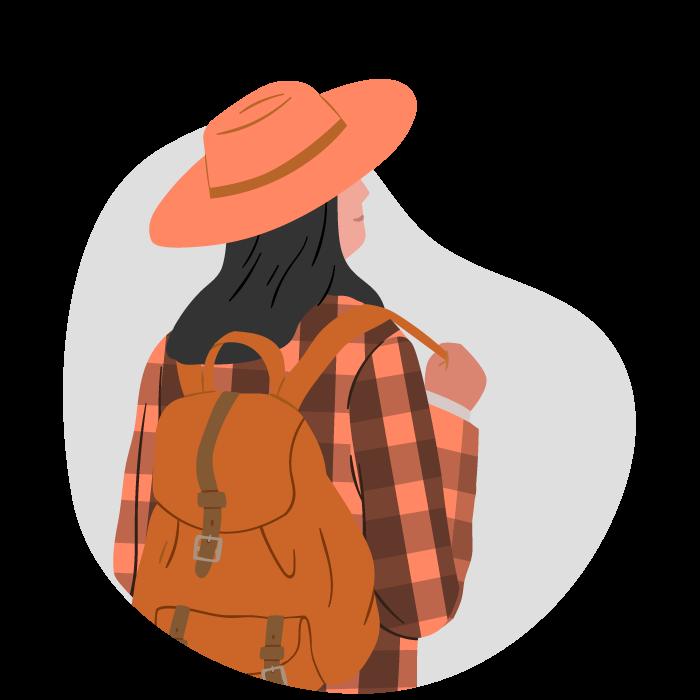 Chica viajera con un sombrero y ropa naranja