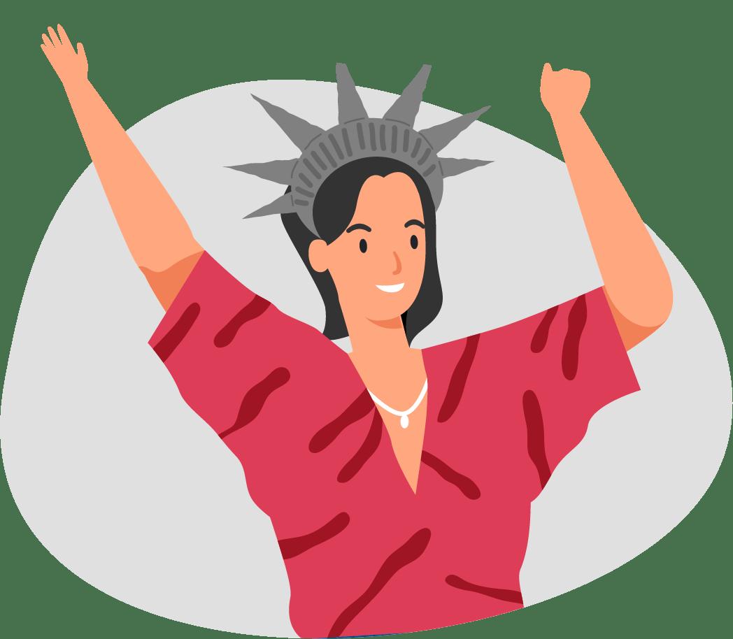 Clasinita contenta con corona de Estatua de la Libertad