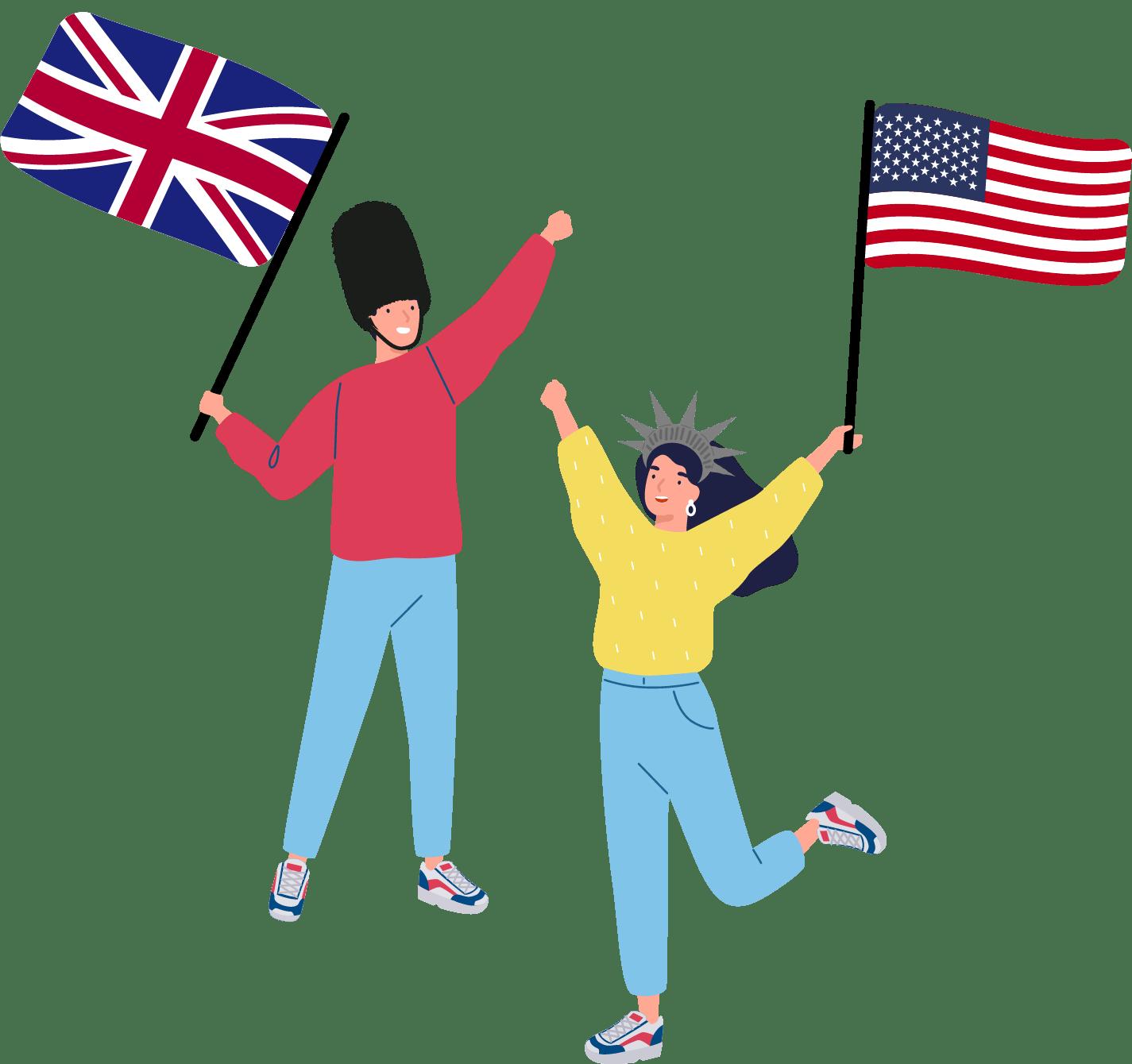 Clasinitos contentos con bandera de Gran Bretaña y Estados Unidos