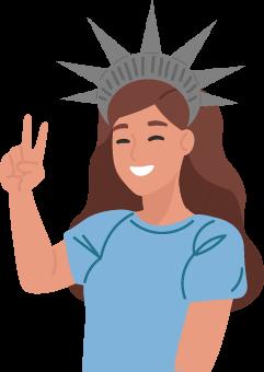 Chica contenta haciendo símbolo de victoria