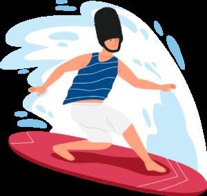 chico feliz haciendo surf en el mar en verano